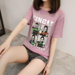 春夏装新款韩版时尚百搭字母印花亮丝打底衫宽松女上衣短袖T恤女