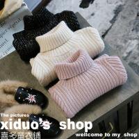 韩国女童冬装新品BLING闪闪洋气百搭坑条高领针织打底衫B8-S24