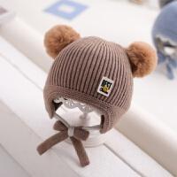 宝宝帽子冬男童毛线帽婴儿护耳保暖冬天0-1岁2女童加里儿童针织帽 均码