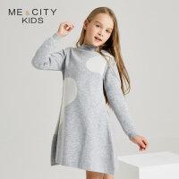 【全场2件2.5折,到手价:77.3】米喜迪mecity童装冬新款女童半高领熊头提花大下摆连衣裙