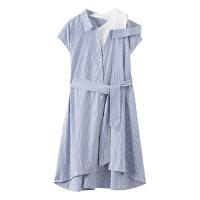 【1件4折到手价:67.96】美特斯邦威女拼接条纹收腰衬衫连衣裙