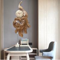 福雕壁饰个性静音挂钟客厅立体孔雀挂表创意浮雕玄关装饰时钟墙饰 金色 现货