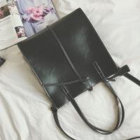 大包包新款女包个性简约时尚手提包复古单肩包休闲斜挎托包 黑色