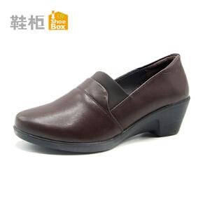 达芙妮集团 鞋柜秋季舒适坡跟套脚妈妈鞋女单鞋