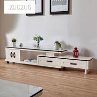 ZUCZUG简约现代小户型可伸缩电视柜仿理石台面钢化玻璃烤漆储物视听柜 160-220*32*45