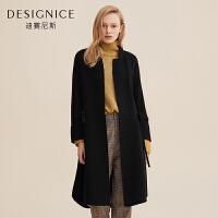 羊毛毛呢外套女迪赛尼斯冬季中长款羊毛双面呢大衣女