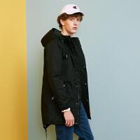 【2件4折到手价:239.6】美特斯邦威旗下 4M棉服男冬季流中长款连帽派克棉外套