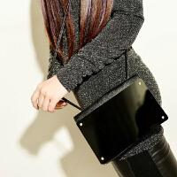 韩版潮流镜子单肩包斜挎包小包女包手机钱包夹零长短钱包男女学生卡包手拿包 黑色