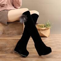 �L靴女2018秋冬季女鞋�仍龈吒�高筒靴女靴子套筒厚底��力靴