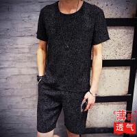 夏季亚麻短裤男套装修身休闲裤青年宽松沙滩裤五分裤潮男裤中国风