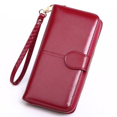长款女士钱包皮钱包长款拉链手机包女手拿包油皮钱夹2折