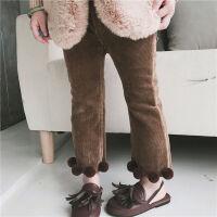 女童加绒童裤儿童灯芯绒长裤宝宝加厚保暖裤子女小童加绒裤子