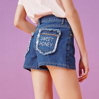 美特斯邦威2018夏装新款刺绣高腰牛仔短裤女韩版学生裤子显瘦潮8