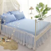 少女心公主白纱蕾丝纯色床裙单件1.5m/1.8米席梦思床罩春夏 +俩枕套
