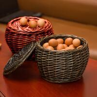收纳筐藤编收纳篮柳编购物篮子鸡蛋篮置物筐干果零食提篮 经典咖啡色