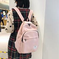 双肩包女简约2019少女校园纯色防水高中大学生书包