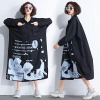 秋新韩版加肥大码女装胖印花200斤遮肚子显瘦中长款翻领连衣裙