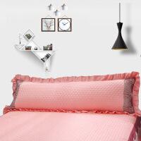 韩版夹棉花边双人枕套1.5米1.2枕头套1.8米情侣长枕芯套 桔红色 蕾丝-玉色不含芯