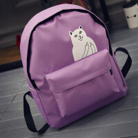 韩版新款简约可爱猫咪卡通女生双肩背包学院风初中学生书包小清新