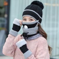 帽子女秋冬季保暖毛线帽加绒加厚冬天骑车防风护耳防寒针织帽防风