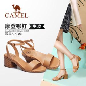 骆驼女鞋 2018夏季新款 时尚休闲一字扣带粗跟韩版高跟凉鞋女