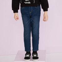 美特斯邦威旗下 女童罗纹腰夹里针织牛仔裤