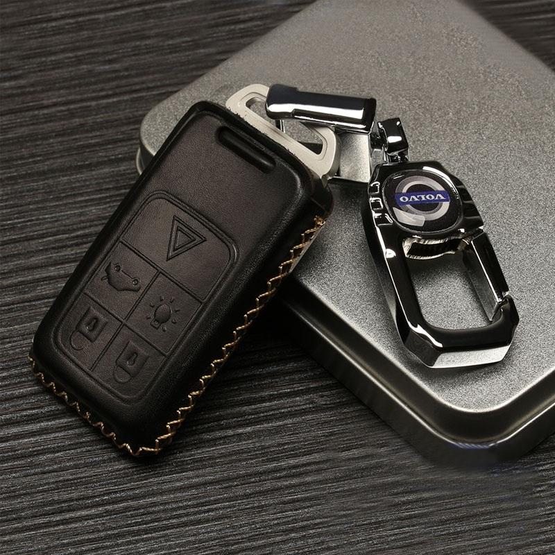 沃尔沃S60L/V60/S80L/XC90/V40/XC60汽车钥匙包钥匙套 红色 B款6键魅力棕 棕色线