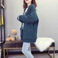 秋冬季毛衣外套女复古宽松慵懒风中长款外搭针织开衫