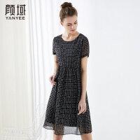 颜域修身显瘦连衣裙短袖黑色格子大码中长裙品牌女装2018夏季新款