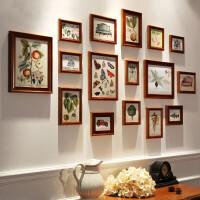 餐厅装饰照片墙美式实木相片墙创意画框挂墙客厅木质楼梯相框组合