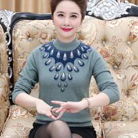 中老年女长袖貂绒衫40-50岁妈妈秋冬纯色毛衣套头羊绒打底衫短款
