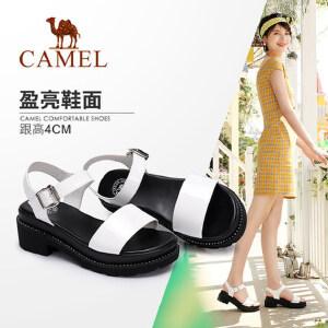 骆驼女鞋 2018夏季新品 凉鞋女粗跟鞋舒适简洁水钻鞋边一字鞋凉鞋