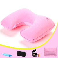 夏季午睡枕  户外旅行便携充气枕头U型枕 车用护颈枕飞机旅游三宝