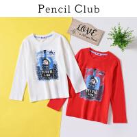 【3折价:27】铅笔俱乐部童装2020春季新款男童长袖中大童纯棉打底衫儿童T恤
