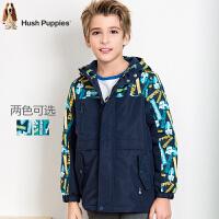 【3件4折后到手价:246.08元】暇步士童装男童冬季新品厚风衣中大童拼接加绒儿童外套风衣