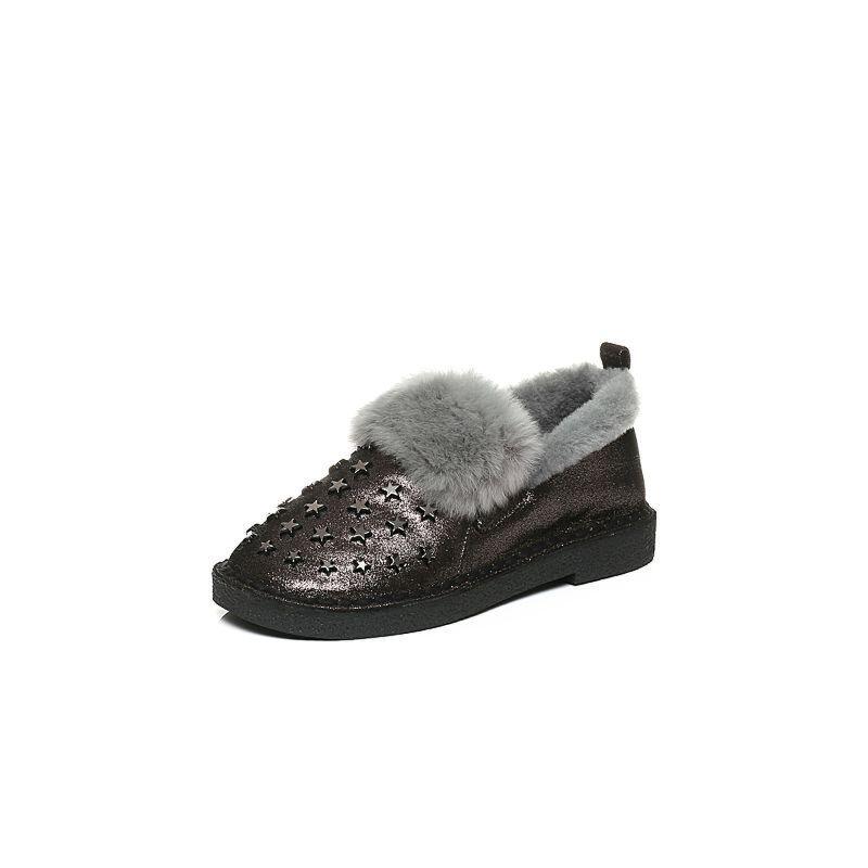 Belle/百丽冬季专柜同款羊绒皮革女皮鞋(毛里)BJJ22DM6