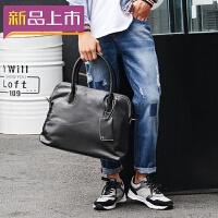 2018新款潮包英伦风男士手提包潮流时尚男包复古单肩包旅行包韩版 黑色 收藏店铺-*品