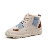 棉靴女2018冬季新款雪地靴加绒保暖加厚面包短韩版百搭潮高帮棉鞋 2228-1 米色(高帮。偏小半码)