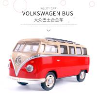 儿童玩具大众迷你巴士合金面包车车模玩具车客车模型声光回力汽车 大众巴士 红25052