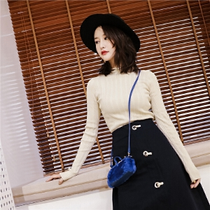 七格格条纹打底长袖针织衫女秋季新款修身米黄色小高领毛衣