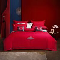 水星家纺 全棉婚庆套件绣花大红6件套/10件套年年有余结婚床上用品