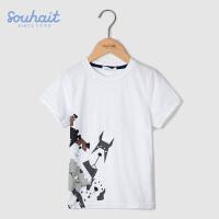 【3件3折 到手价:41.7元】水孩儿(SOUHAIT)童装男童夏装短袖t恤2018新款儿童纯棉短袖t恤圆领AQAXM