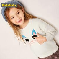 巴拉巴拉女童毛衣2018新款秋冬宝宝针织衫小童女童打底衫圆领上衣
