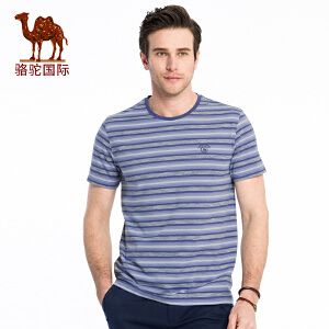 骆驼牌男装 2018年夏季新款青年条纹夏装休闲舒适棉质圆领短袖T恤