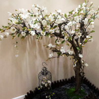 仿真玉兰花树橱窗装饰客厅植造型盆景落地假花摆件