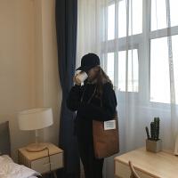 韩国风手提单肩大包包灯芯绒布包 复古灯芯绒字母包学生书包