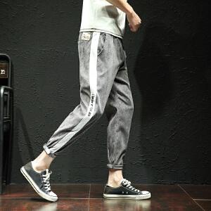 新款灯芯绒字母条纹休闲裤大码裤子九分裤主推大货K33303ASJXZ