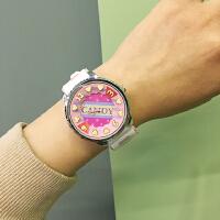 韩国日系原宿马卡龙糖果撞色卡通可爱圆形学生手表软妹腕表女萌