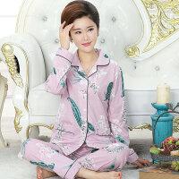 春秋季睡衣女中老年长袖妈妈老人宽松大码全棉女士家居服套装