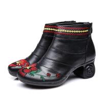 冬秋真皮马丁靴民族风妈妈鞋单靴舞靴女鞋高跟异型跟靴子绣花